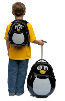 trendy kid penguin luggage set ($89.99)