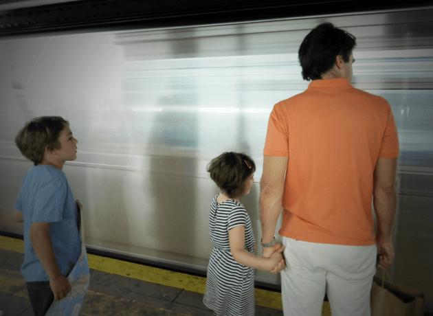 new york subway with kids