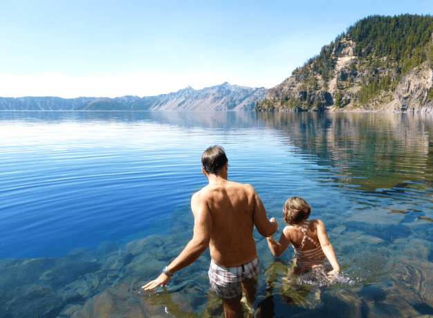 Kids Swimming In A Lake crater lake national park, oregon with kids